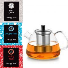 GIFT SET 3 - TWO PERSON TEAPOT DZ'001 + 3 LOOSE LEAF TEAS (250g)