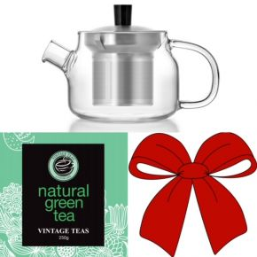 GIFT SET 1 - ONE PERSON TEAPOT S'048A + 1 LOOSE LEAF TEAS (250g)