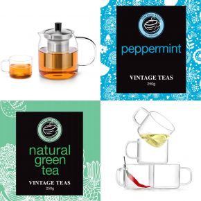 GIFT SET 5 - TWO PERSON TEAPOT + 4 TEA CUPS + 2 LOOSE LEAF TEAS (250g)