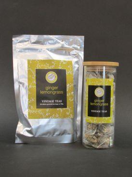 Bamboo Lid Borosilicate Tea Canister with Vintage Teas 50 Silken Pyramid Tea Bags - Ginger & Lemongrass