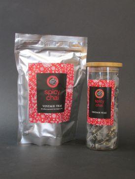 Bamboo Lid Borosilicate Tea Canister with Vintage Teas 50 Silken Pyramid Tea Bags - Spicy Chai