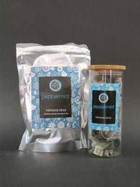 Bamboo Lid Borosilicate Tea Canister with Vintage Teas 50 Silken Pyramid Tea Bags - Peppermint