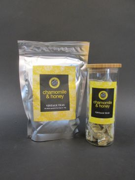 Bamboo Lid Borosilicate Tea Canister with Vintage Teas 50 Silken Pyramid Tea Bags - Chamomile & Honey