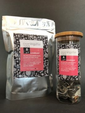 Morning After Tea 50 Silken Pyramid Tea Bags - Lovebuzz + FREE Tea Canister