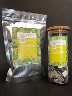 Morning After Tea 50 Silken Pyramid Tea Bags - Petalberry + Tea Canister