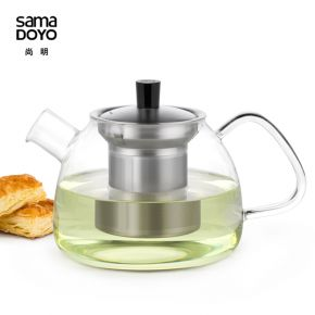 Samadoyo Borosilicate Glass Contemporary Design Infusion TeaPot S'051 900ml