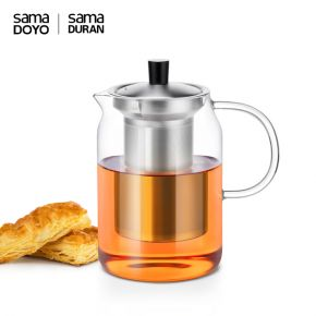 Samadoyo Borosilicate Glass Contemporary Design Infusion TeaPot S'053 900ml
