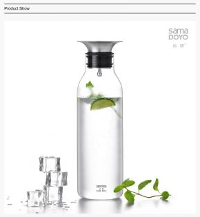 Samadoyo Borosilicate Glass Contemporary Design Water Jug / Bottle S'065 900ml