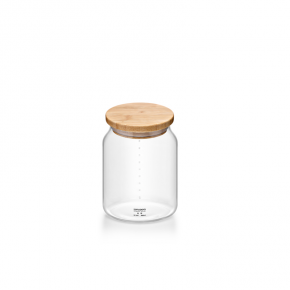 Samadoyo Borosilicate Glass Contemporary Storage Canister Jar Bamboo Lid S'106C 880ml