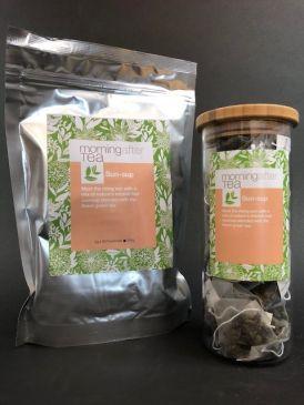 Morning After Tea 50 Silken Pyramid Tea Bags - SunSup Tea Canister