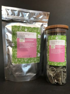 Morning After Tea 50 Silken Pyramid Tea Bags - Sweetstart + Tea Canister