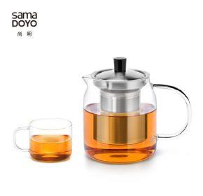 Samadoyo Borosilicate Glass Contemporary Design Infusion TeaPot + 4 Tea Cups T'104